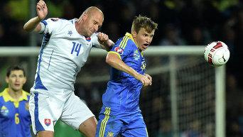Руслан Ротань во время матча сборных Украины и Словакии