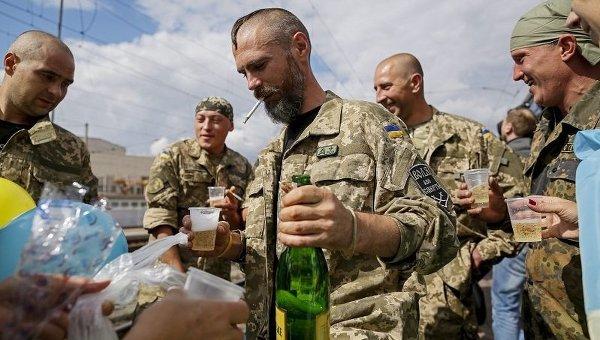 Возвращение бойцов из зоны АТО в Киев