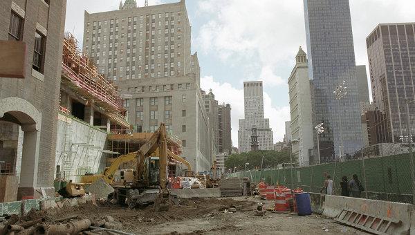 Место взрыва Всемирного Торгового центра в Нью-Йорке