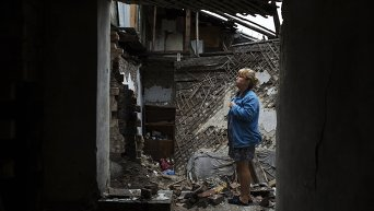 Работа волонтёров в Донецке