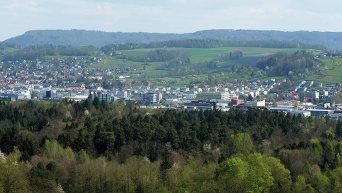 Вид с воздуха на территорию Швейцарии