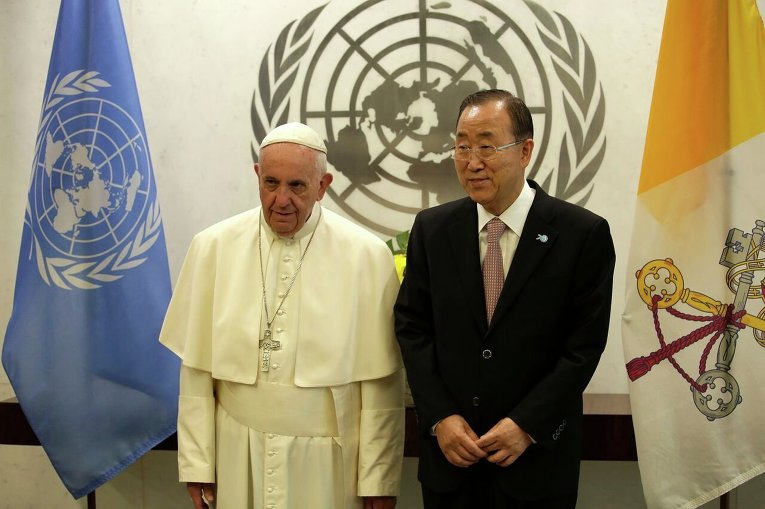 Папа Римский и Пан Ги Мун на юбилейной 70-й Генеральной ассамблее ООН
