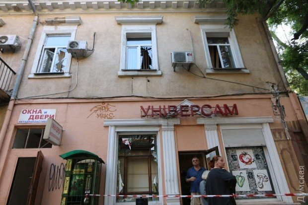 Разрушения в Одессе после подрыва здания СБУ