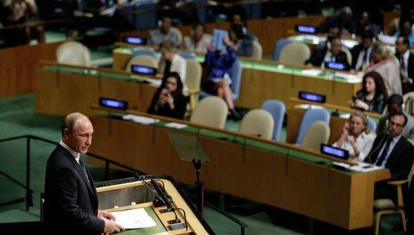 Президент России Владимир Путин выступает на Генассамблее ООН.