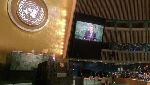 Петр Порошенко выступает на Генеральной Ассамблее ООН, 29 сентября 2015 г.