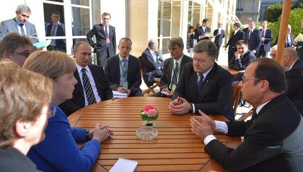 Путин обсудил конфликт вДонбассе слидерами стран «нормандской четверки»