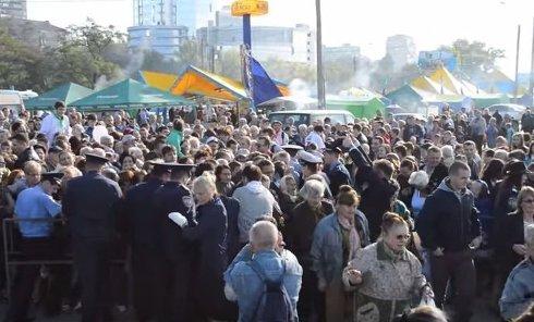 Давка в Запорожье. Видео