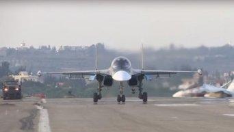 Дневные полеты боевой авиации РФ в Сирии на аэродроме Хмеймим. Видео