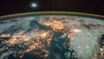 Земля ночью. Вид из космоса. Видео