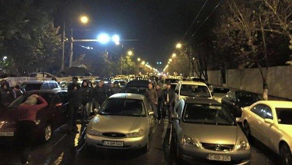 Блокирование движения транспорта в Кишиневе