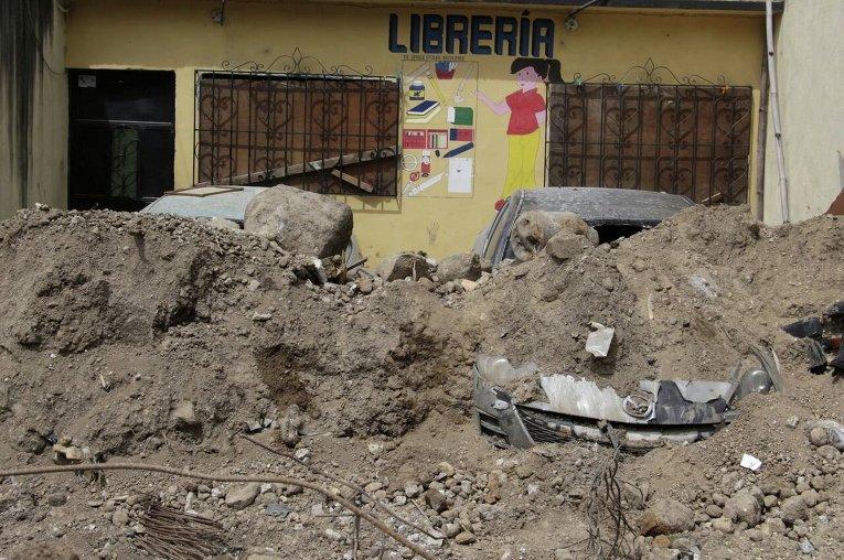 Последствия оползня в Гватемале.