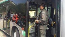 Полиция Израиля на месте террористического акта в автобусе