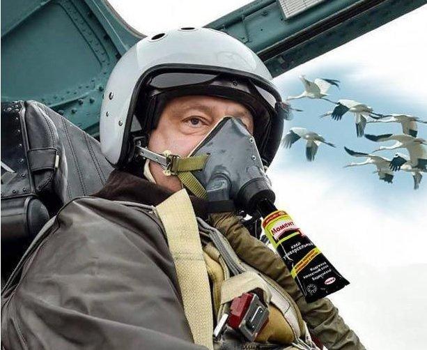 Полет Петра Порошенко на Су-27 в фотожабах