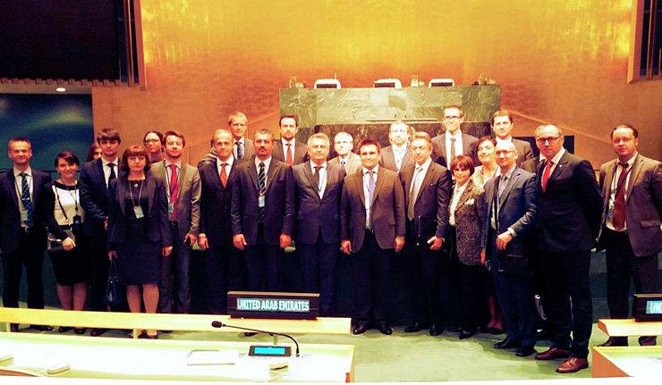 Украинская делегация в Нью-Йорке, где Украину приняли в непостоянные члены Совета Безопасности ООН