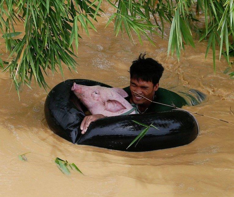 Наводнение в результате тайфуна Коппу на Филиппинах