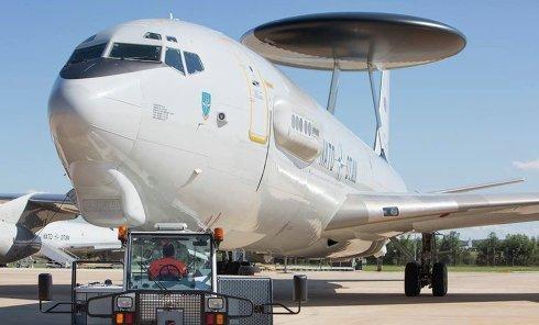 Учения НАТО. Самолет дальнего радиолокационного обнаружения AWACS E3-A ВВС Германии