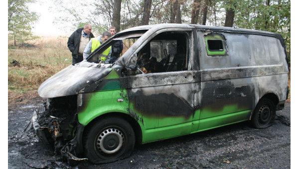 На месте нападения на инкассаторов в Черниговской области. Архивное фото