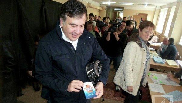 Михаил Саакашвили на голосовании