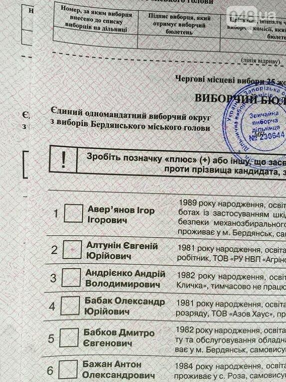 В Бердянске типография напечатала бюллетени с ошибкой - красной точкой возле одного из кандидатов. ТИК большинством голосов признал эти бюллетени действительными