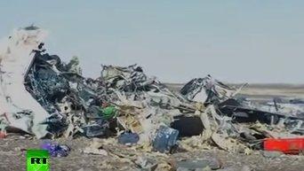 На месте падения российского самолета в Египте. Видео